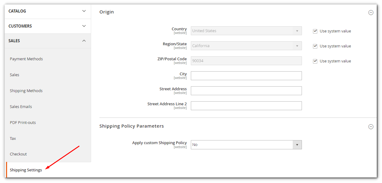 Shipping Settings page